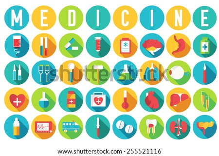 set flat medical equipments and human anatomy body organs icons illustration concept. Vector background design. Colorful template for you design, web and mobile applications