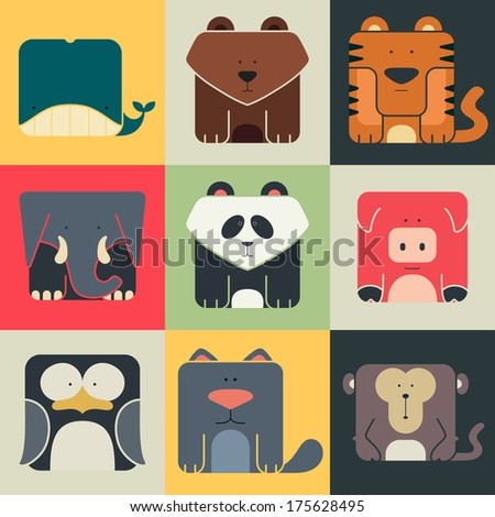 Set flat square icons of a cute animals on color background Wildness and Nature logos