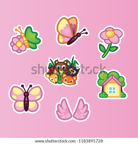 Stock Photo Set flat stickers beautiful butterfly, wildflowers, wild forest animals and summer cottage on pink background. Animals and insects, summer nature concept