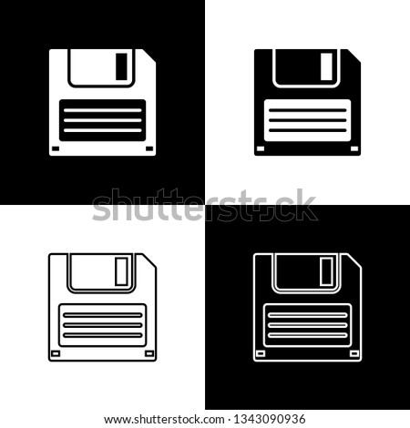 Set Floppy disk for computer data storage icons isolated on black and white background. Diskette sign. Line, outline and linear icon. Vector Illustration
