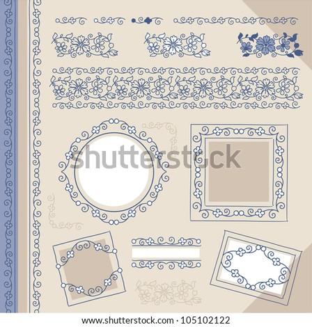 set floral vintage borders and frames