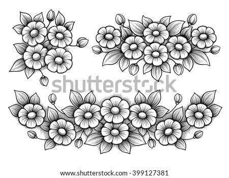 Vector Images, Illustrations and Cliparts: Set flowers daisy bunch ...