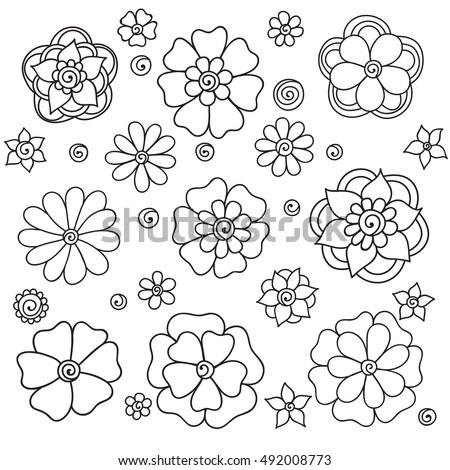 Set flowers on a white background. Spring flowers set. Colorful spring flowers set. Flowers branch. Flowers free fall. Flowers icon. Flowers logo. Flowers nature. Flowers summer. Flowers illustration