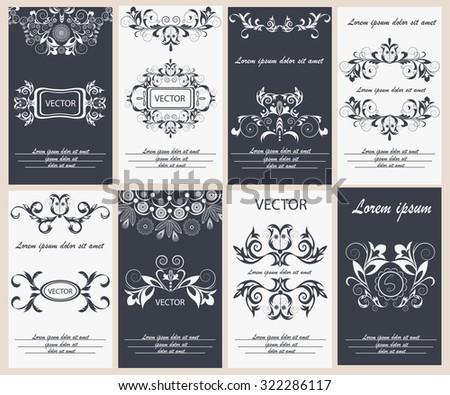 Set flyer design template classic ornamental style. Elegant frame, monogram floral ornament with typography. Ideal logo for restaurant, hotel, cafe. Vector illustration