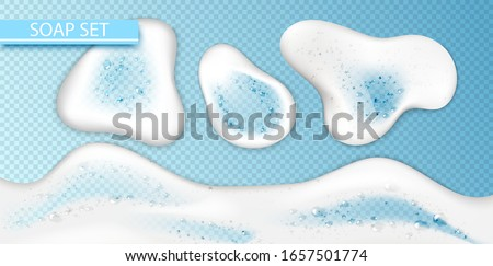 Set Foam effect isolated on transparent background. Soap, gel or shampoo bubbles overlay texture. Vector shaving, mousse foam top view pattern for your advertising design.