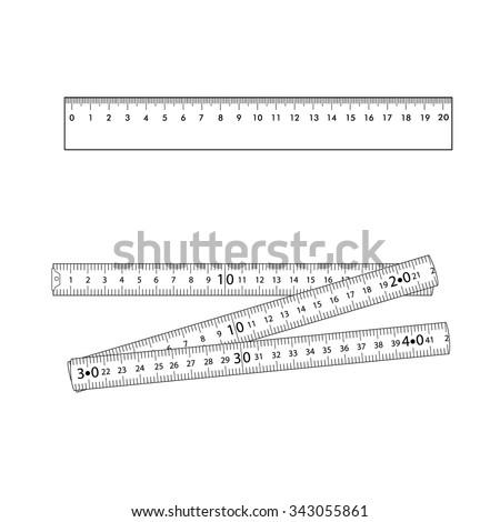 Set. Folding ruler and metallic ruler.