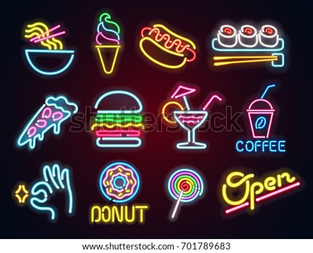 set food and drink neon sign....