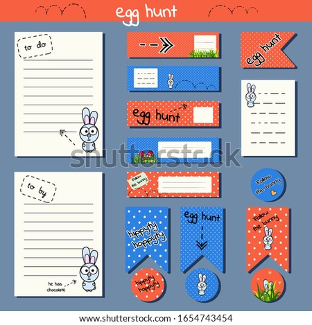Set for creating a glider, easter party decoration, stickers, sheets, flags, scrapbooking. Funny cartoon rabbit. Bright orange and blue colors to the dote. Egg hunt. Vector illustration for print note