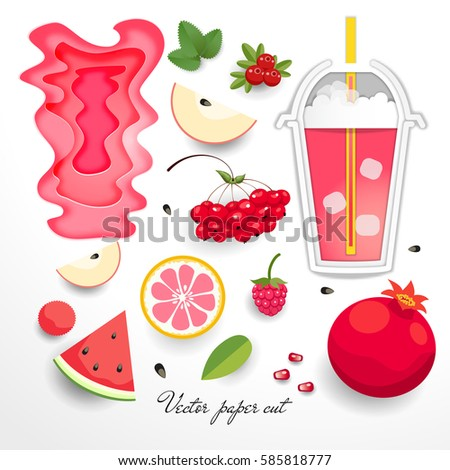 Set for design. Cup with green drink and fruits in style of paper art.