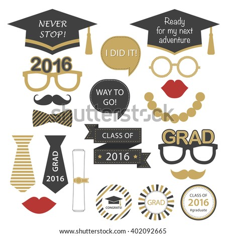Set for graduation party. Class of 2016. Vector decoration elements. Graduation theme for high school or college graduation, announcements and invitations, wall decoration.