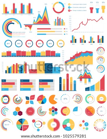 Set for infographics various design elements with bar or circle, area filling or pie, linear charts and step diagram for statistic document or report. Visualization poster template for analytics