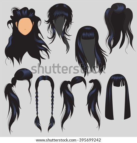 Set for modeling the face of a beautiful young girl. Haircut and hairstyle. Vector illustration.