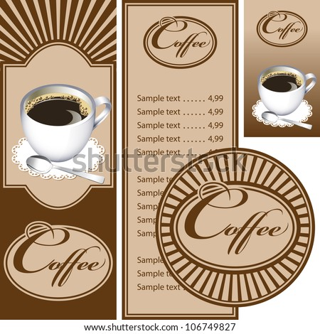 Set for the cafe menu, business card and coasters for drinks. All elements are grouped. Vector images for easy editing.