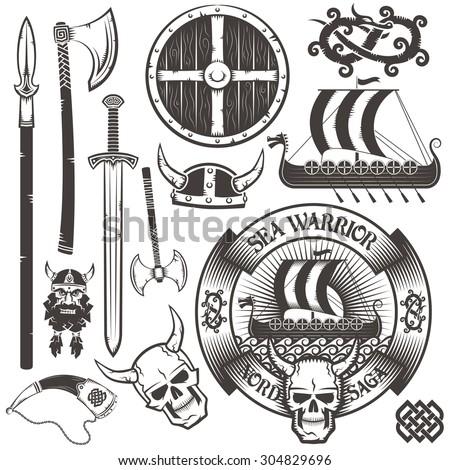 set for viking logo  emblem