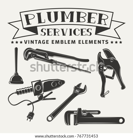 Set for vintage emblem design with monochrome signs of pipe cutter and pipes solider iron, pipe wrenchs and plunger, elements for plumber logo design, isolated on white background, vector