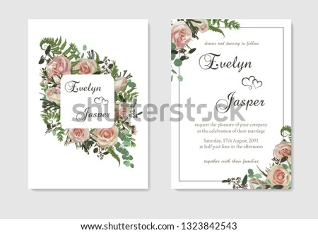 Set for wedding invitation, greeting card, save date, banner. Flowers, leafs, boxwood, brunia and eucalyptus, pink rose. Decorative square frame. Vector watercolor template #1323842543