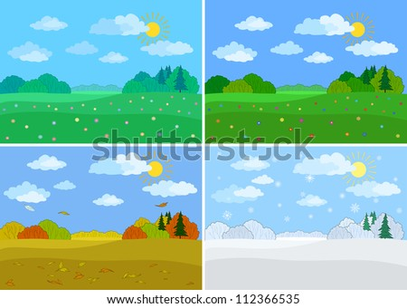 Set forest landscapes, seasons: spring, summer, autumn, winter. Vector