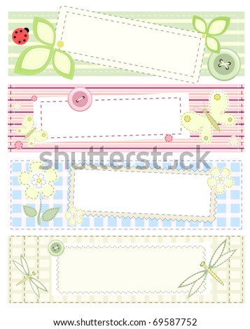 Set - four vector banners with patchwork - stock vector