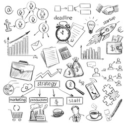 Set freehand drawing sketches on the theme of business . Black and white graphically isolated elements .