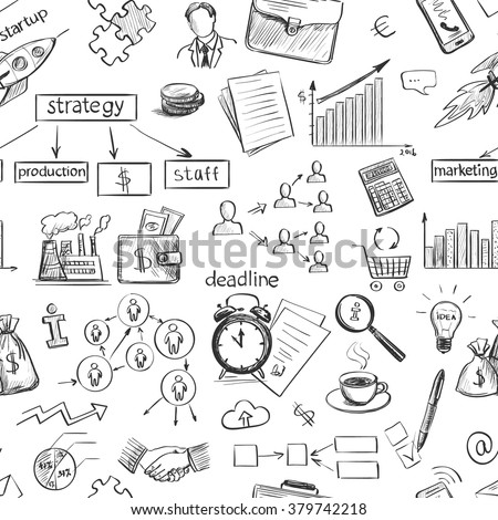 Set freehand drawing sketches on the theme of business . Black and white graphically isolated elements