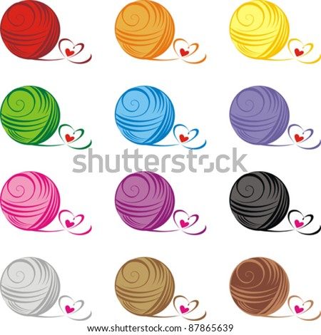 Set from color ball of threads isolated on White background. Vector illustration