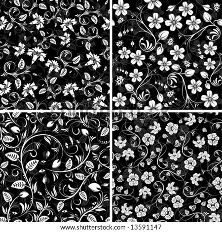 Set from four seamless flower patterns with ladybug, element for design, vector illustration