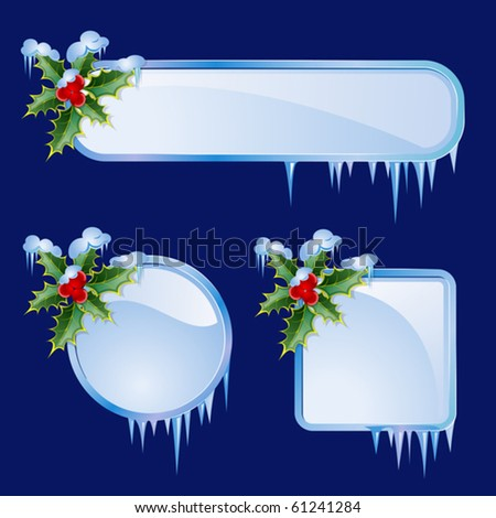 Set from  frames with berries and icicles