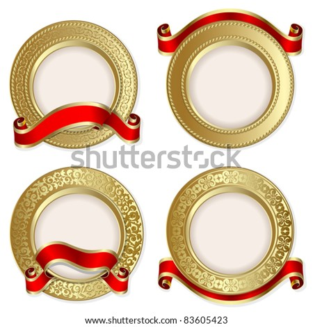Set from  gold backgrounds with red ribbon on the white background
