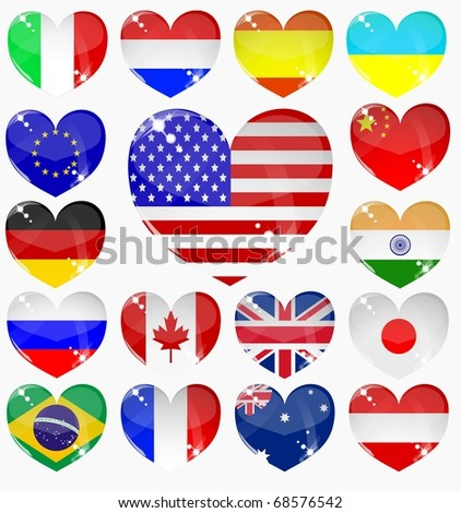 set from the hearts of flags of the world