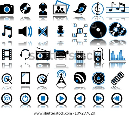Set from 35 (thirty five) multimedia icons