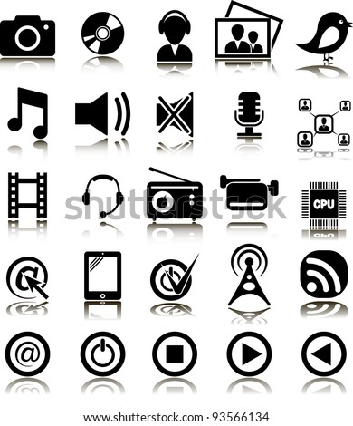 Set from 25 (twenty five) multimedia icons