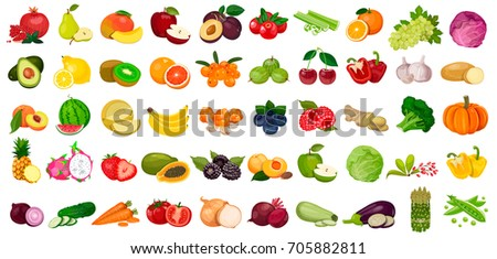 Set fruits and vegetables and berries