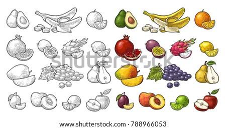Set fruits. Mango, lime, banana, maracuya, avocado, dragon, lemon, orange, garnet, peach, apple, pear, grape, plum, passion. Vector black vintage engraving illustration isolated on white
