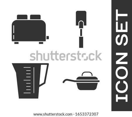 Set Frying pan , Toaster with toasts , Measuring cup and Spatula  icon. Vector