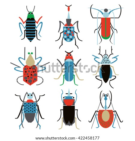 set funny insects cartoon