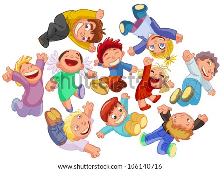 set funny kids in the jump - stock vector