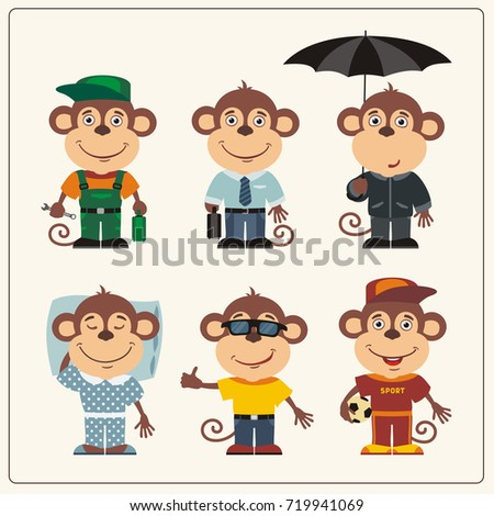 set funny monkey in different