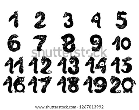 set funny number silhouettes