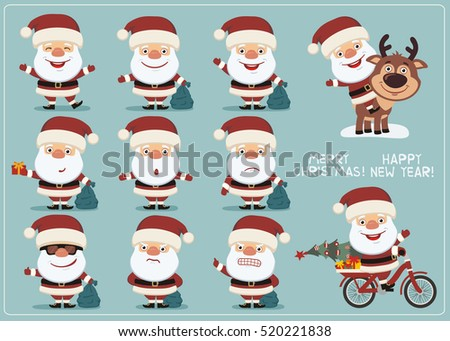 Cute santa character with christmas gift vector download free set funny santa claus in different poses collection isolated santa claus with gift sack in negle Gallery