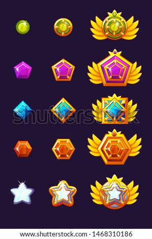 Set Gems award progress. Golden amulets set with jewelry. Vector icons assets for game design.