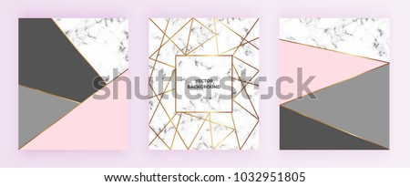 stock-vector-set-geometric-designs-posters-with-gold-line-grey-pastel-pink-colors-and-marble-texture