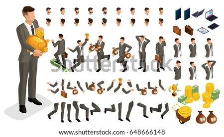 Set gestures hands man, leg position in isometry to create a 3D character of an investor businessman. Create your character and group with different for vector