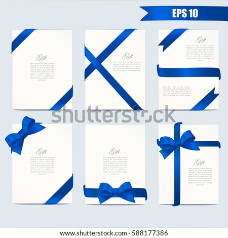 Stock Photo Set gift card vector illustration on grey background. Wide gift bow with blue ribbon and space for text. Template for voucher, invitation, gift, banner, certificate or poster design. Realistic style.