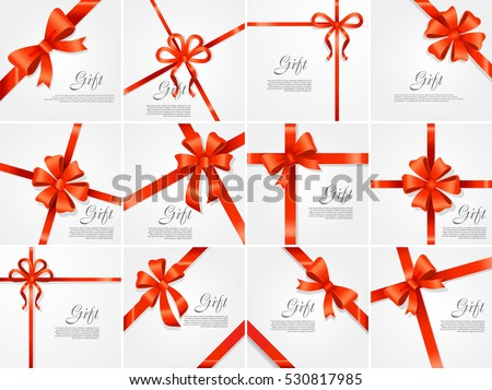 Set gift card vector illustration on white background, luxury wide gift bow with red ribbon and space frame for text, gift wrapping template for banner, poster design. Simple cartoon style Flat design
