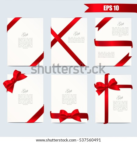 Set gift card vector illustration on white background. Wide gift bow with red ribbon and space for text. Template for voucher, invitation, gift, banner, certificate or poster design. Realistic style.