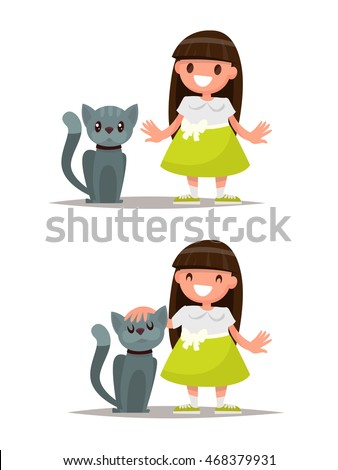 set girl and cat vector