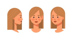 set girl head avatar front side view female character different views for animation horizontal portrait vector illustration