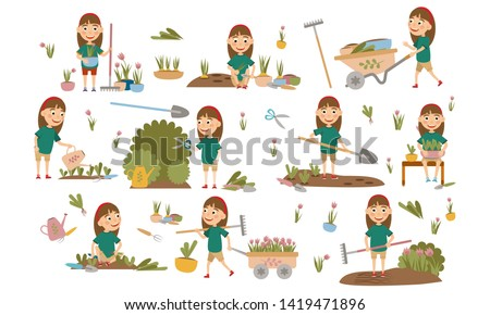 Set Girl with hair decoration gardening plants, weed beds, watering seedlings, pruning bushes and trees, working in the garden. People and garden tools. Vector illustration