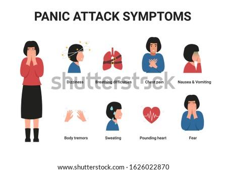 Set girl with panic attack symptoms. Flat vector cartoon illustration. Stock photo ©