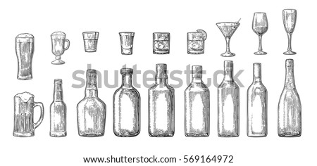 set glass and bottle beer